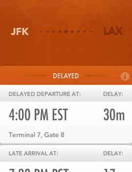 GateGuru flight delay screen