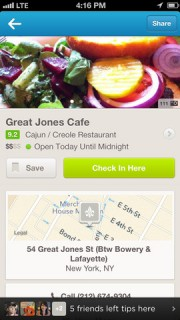 Foursquare app screenshot