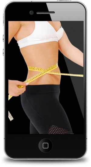 woman measuring waist on iphone screen