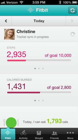 fitbit app screen