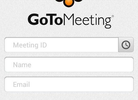 GoToMeeting app login screen